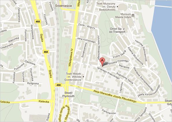 Mapa - umiejscowienie przedszkola w Gdyni